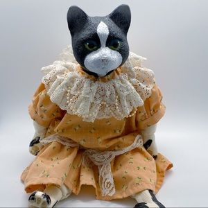 Vintage Cat Doll with Prairie Dress 1980's